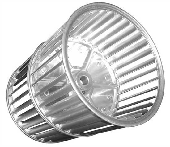 """Picture of Double Inlet 5 1/4"""" x 6 3/4"""" CCW Aluminum Blower Wheel"""