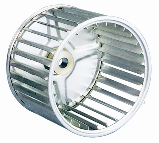 "Picture of Single Inlet 7 1/2"" x 4"" CCW Galvanized Blower Wheel"
