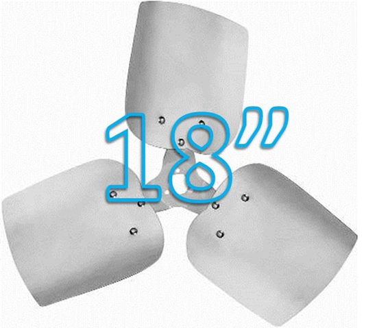 "Picture of 3-Blade 18"" 23° CCW Free Air, Condenser Style, Heavy Duty Propeller"