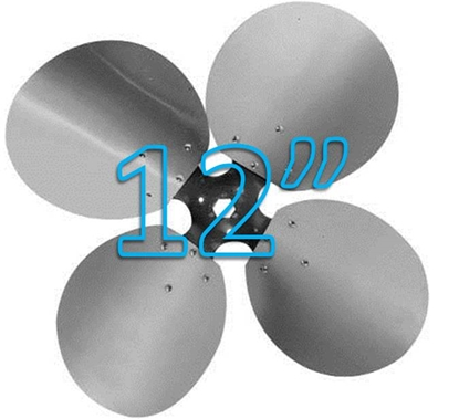 """Picture of 4-Blade 12"""" 23° CCW Free Air Propeller"""