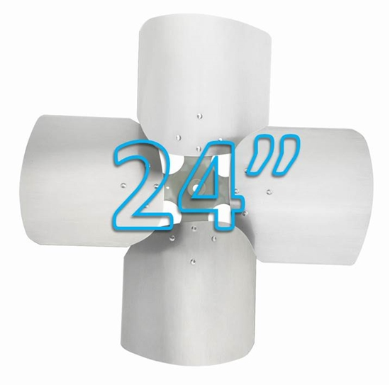 "Picture of 4-Blade 24"" 23° CCW (1/2"" Bore) Condenser Style, Heavy Duty Propeller"